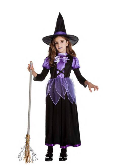 Disfraz De Bruja Largo Para Nina En Tallas 5 A 12 Anos - Disfraz-de-bruja-para-bebe