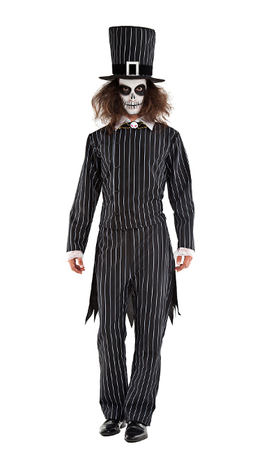 Vista frontal del disfraz de Jack Skellington disponible también en talla XL