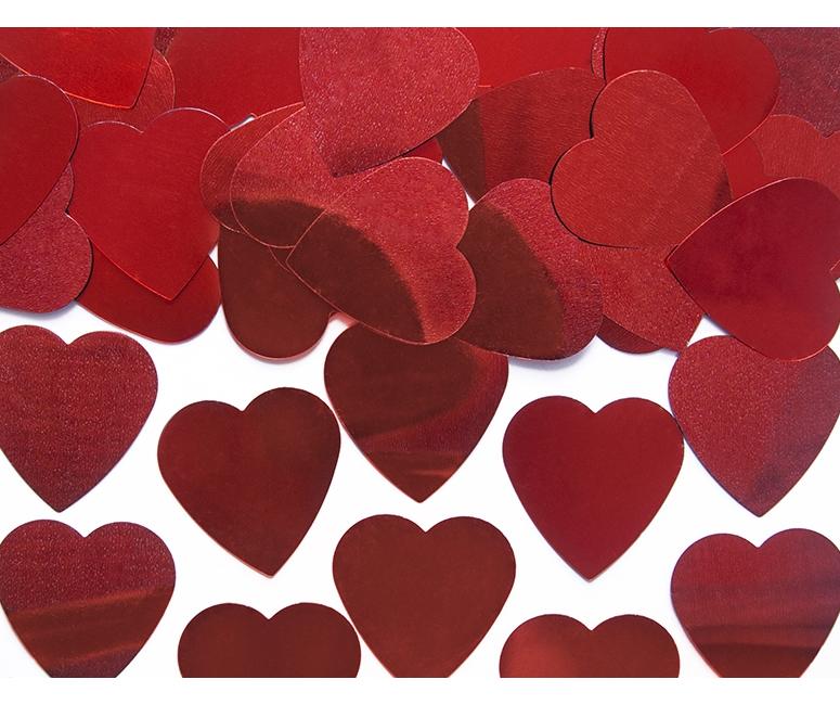 Confetti De Corazones Grandes Rojos 10 G Por 075