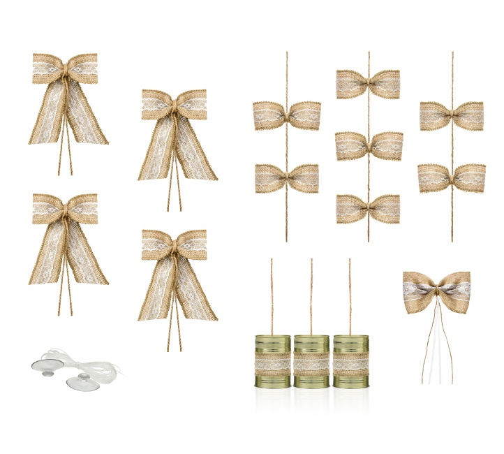 Foto detallada de kit decorativo para coche Natural Weddding