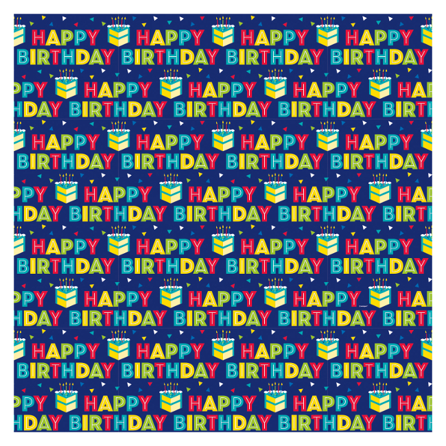 Vista frontal del papel de regalo de Happy Birthday azul marino de 1,52 x 0,76 m en stock