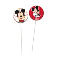 Picks largos decorativos de Mickey Mouse - 6 unidades