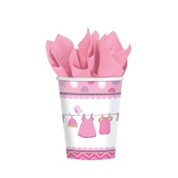 Vasos de Pink Baby Party de 266 ml - 8 unidades