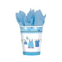 Vasos de Blue Baby Party de 266 ml - 8 unidades