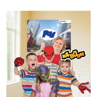 Kit para photocall de Spiderman con mural - 12 unidades