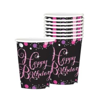 Vasos de Pink Birthday de 266 ml - 8 unidades
