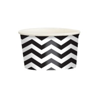Tarrinas chevron negras de 280 ml - 20 unidades