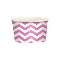 Tarrinas chevron fucsia de 280 ml - 20 unidades