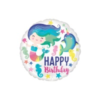 Globo redondo de Sirena Happy Birthday - 43 cm