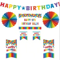 Kit decorativo personalizable de Happy Birthday arcoíris - 8 unidades