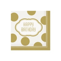 Servilletas Happy Birthday Golden de 33 x 33 cm - 16 unidades