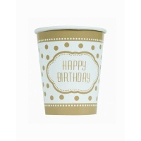 Vasos Happy Birthday Golden de 270 ml - 8 unidades