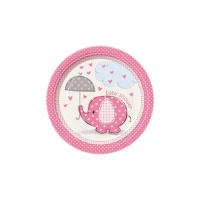 Platos Pink Elephant Party de 17 cm - 8 unidades