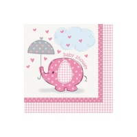 Servilletas Pink Elephant Party de 33 x 33 cm - 16 unidades