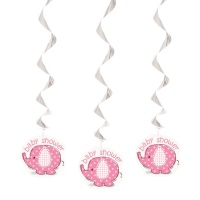 Colgantes decorativos Pink Elephant Party de 65 cm - 3 unidades