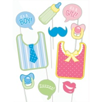 Kit para photocall de fiesta Baby Shower - 10 unidades