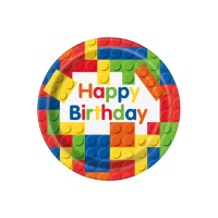 Platos de Lego Happy Birthday de 23 cm 8 unidades