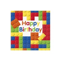 Servilletas de Lego Happy Birthday de 33 x 33 cm - 16 unidades