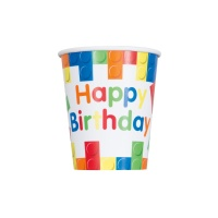 Vasos de Lego Happy Birthday de 270 ml - 8 unidades