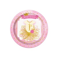 Platos de Pink and Gold de 23 cm - 8 unidades