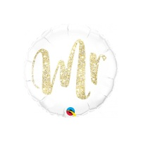 Globo redondo blanco de Mr. de 46 cm - Qualatex