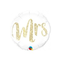 Globo redondo blanco de Mrs. de 46 cm - Qualatex