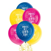 Globos de látex de Llamas Party de 30 cm - Qualatex - 8 unidades