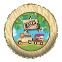 Globo redondo Happy Birthday de Aventura Safari - 45 cm