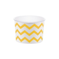 Tarrinas chevron amarillas de 266 ml - 6 unidades