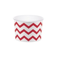 Tarrinas chevron rojas de 266 ml - 6 unidades