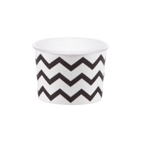 Tarrinas chevron negras de 266 ml - 6 unidades