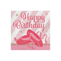 Servilletas de Bailarina Happy Birthday de 33 x 33 cm - 16 unidades