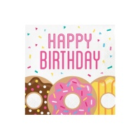 Servilletas de Donuts Happy Birthday de 33 x 33 cm - 16 unidades