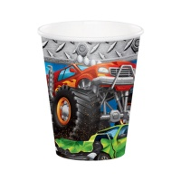 Vasos de monster trucks de 266 ml - 8 unidades