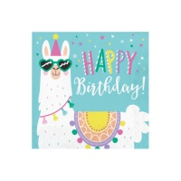 Servilletas de Llamas Happy Birthday de 33 x 33 cm - 16 unidades