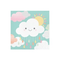 Servilletas de Clouds Party  con sol de 33 x 33 cm - 16 unidades