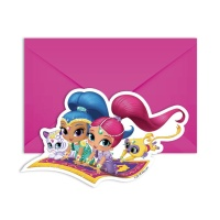 Invitaciones de Shimmer and Shine -6 unidades