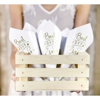 Conos de papel blancos de Best Day Ever de 23 cm - 10 unidades