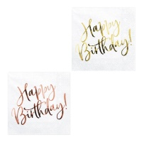 Servilletas de Happy Birthday Golden de 33 x 33 cm - 20 unidades