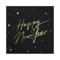 Servilletas Happy New Year negras de 16,5 x 16,5 cm - 20 unidades
