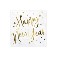Servilletas Happy New Year blancas de 33 x 33 cm - 20 unidades