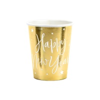 Vasos de Happy New Year dorados de 220 ml - 6 unidades