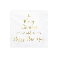 Servilletas blancas de Merry Christmas and Happy New Year de 33 x 33 cm - 20 unidades