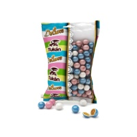 Mini bolas de cereal recubiertas de chocolate, colores blanco, rosa y azul - 85 g