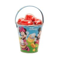 Cubo de metal de Mickey y Minnie Mouse con 5 huevos de chocolate