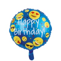 Globo redondo de Emoticono Happy Birthday de 46 cm - 1 unidad