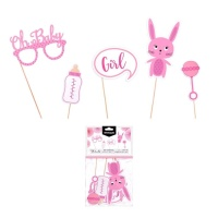 Kit para photocall de Baby Shower rosa - 5 unidades