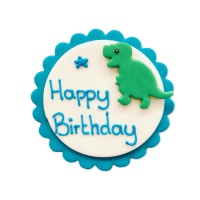 Figuras de azúcar de Dinosaurios happy birthday - Creative Party