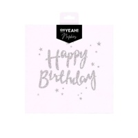 Servilletas Happy Birthday iridiscente de 33 x 33 cm - 12 unidades