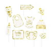 Kit para photocall de Baby Shower blanco y dorado - 10 unidades